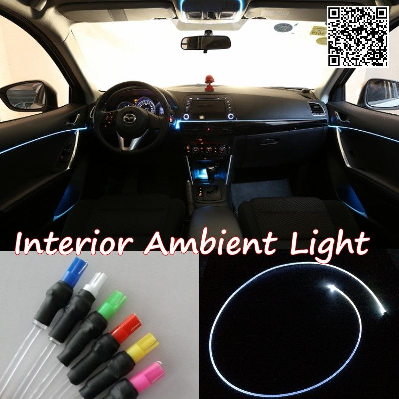 For Chevrolet Onix 2012 Car Interior Ambient Light Panel Illumination For Car Inside Cool Strip Light Optic Fiber Band Ambient Lighting Car Interior Car Lights