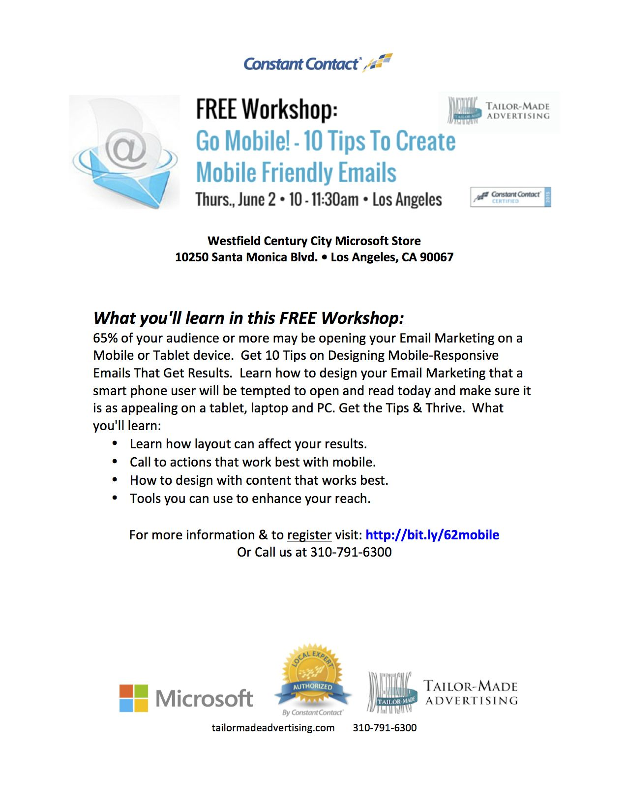#MobileMarketing #Workshop in #CenturyCity on 6/2. Come and learn ways to make your emails mobile friendly