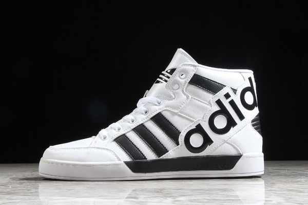 cheap for discount 9178a b08e6 adidas Hardcourt Hi Big Logo White Leather Trainers CM8068