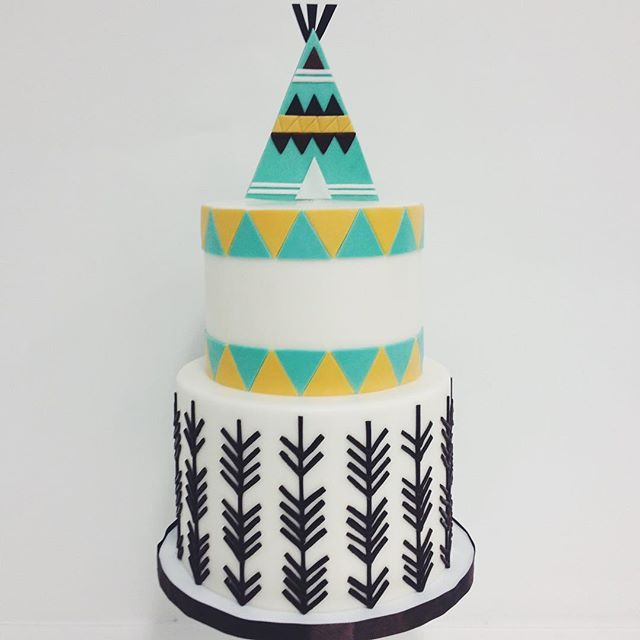 """""""The cutest patterned teepee cake! Love this @elisecakes"""" Photo taken by @sweetnsaucyshop on Instagram, pinned via the InstaPin iOS App! http://www.instapinapp.com (07/13/2015)"""