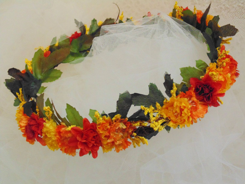Celtic Autumn Flower Crown Wildflower Tiara Renaissance Fair Crown