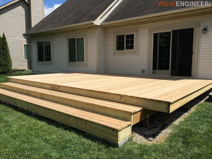 DIY Floating Deck   Free Plans | Rogueengineer.com #FloatingDeck  #OutdoorDIYplans