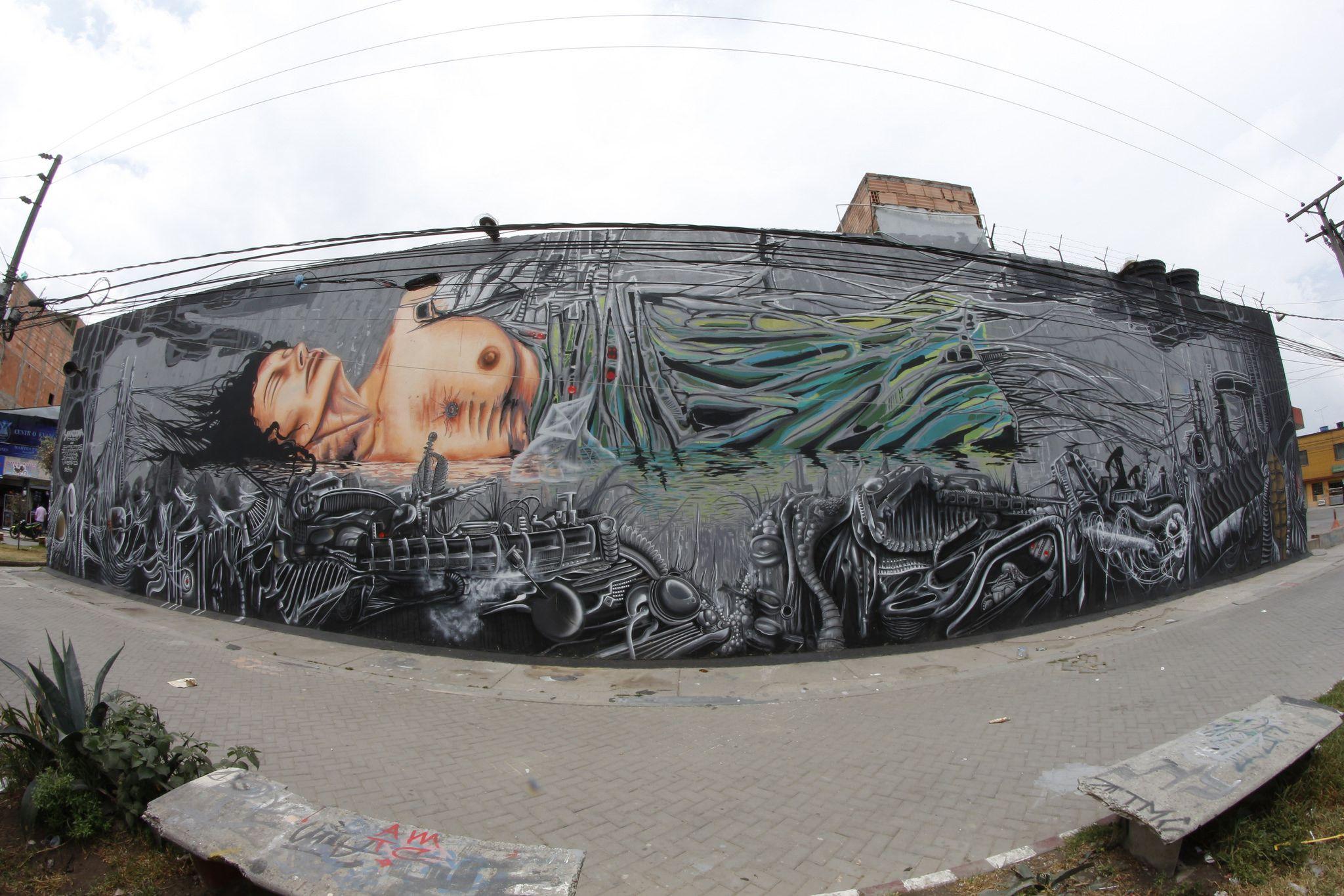 https://flic.kr/p/DrNubk   Hypercubo Anatema 0110   Intervención colectiva Anatema Crew #atmc #Infectos #Elemento #Cancha #Antrax #Vmbra Muro realizado en el Barrio #BosaCarbonell durante el 2015. Apostándole a los proyectos autogestionados e independientes desde #Bosa #SurDeBogotá #muralismo #urbanart #LatinoamericaPinta #streetart #BiomechanicArt #Cyberpunk #Giger #TheHiddenSpectre #ArteSurrealista #Tekné #Ai #Escenarios ------------------------------------------- Sinapsis:  Hoy, más que…