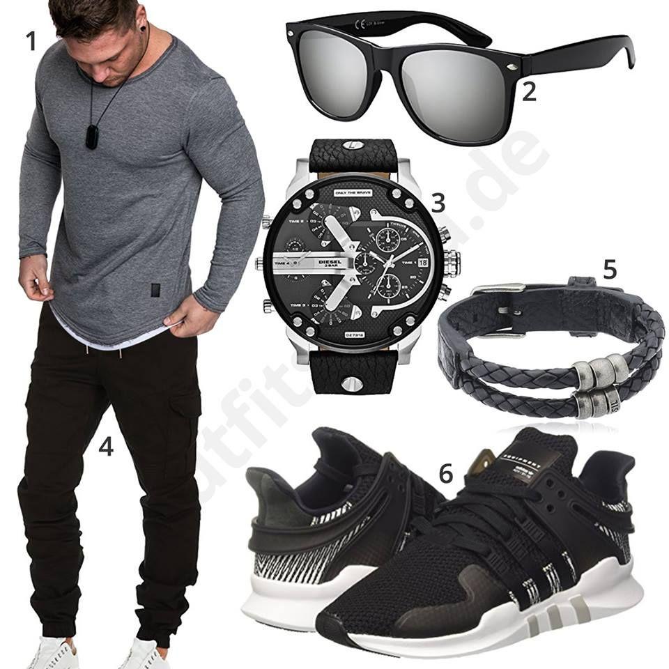 Schwarz-Grauer Herrenstyle mit Shirt und Jogginghose ...