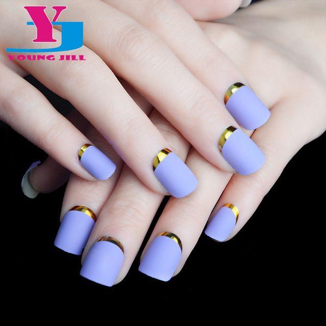 Moda púrpura mate acrílico manicura francesa metálico Artificial ...