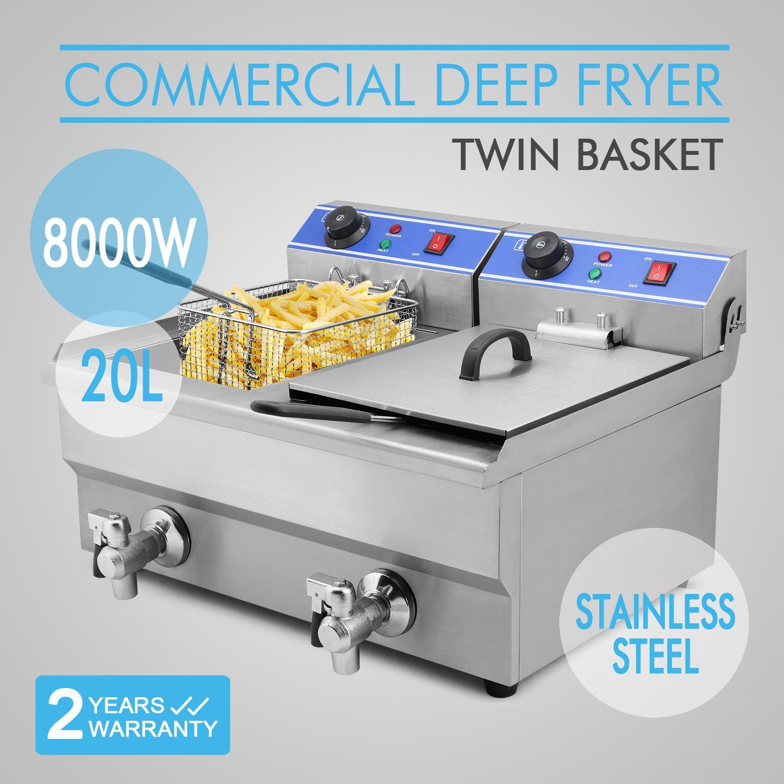 Commercial Restaurant Electric 20L Deep Fryer w/ Timer and