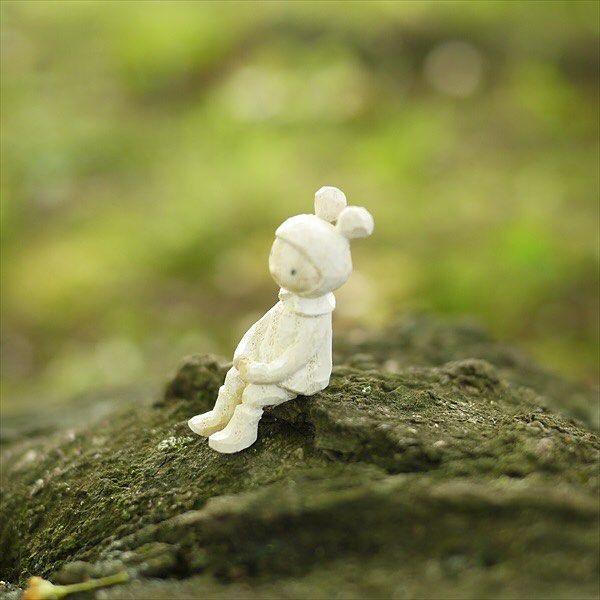 ちょこんと。    #mokko_kumakichi #木工くま吉 #woodcarving #木彫り #木彫 #handmade #ハンドメイド  #figure #doll