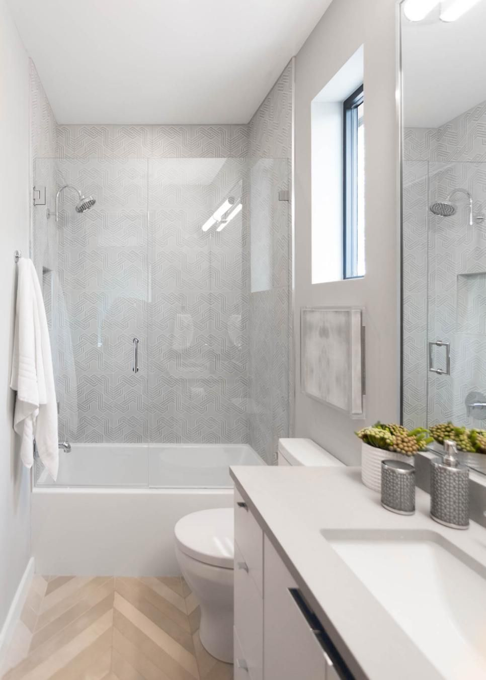 Light And Bright Transitional Bathroom With Gl Enclosed Shower