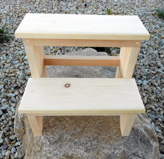 14 Inch Tall Handcrafted Pine Step Stool Unfinished Step Stool Wooden Step Stool Stool