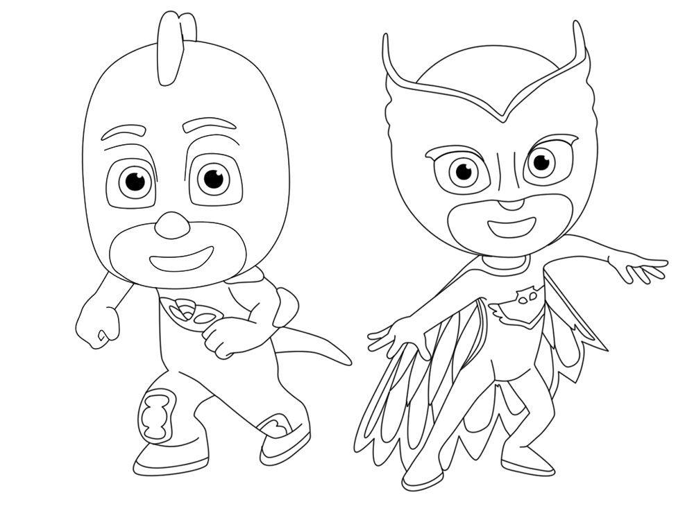 гекко и алетт из мультфильма герои в масках раскраски для