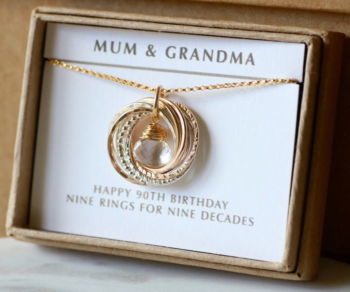 Etsy 90th Birthday Gift Idea April For Grandmother Ad Birthstone Necklace Birthd