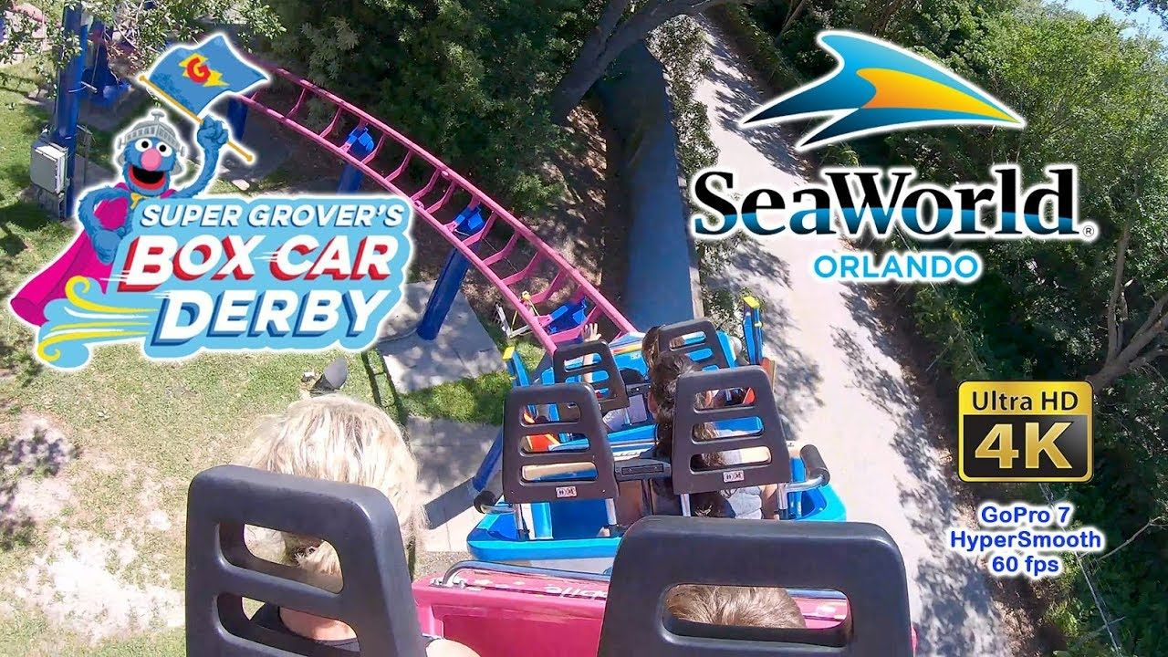 2019 Super Grover S Box Car Derby Roller Coaster On Ride Ultra Hd 4k Pov Roller Coaster Sea World Thrill Ride