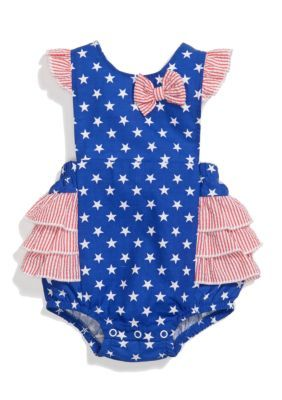 1a2e3de9720 Nursery Rhyme Sleeveless Stars Cross Back Sunsuit