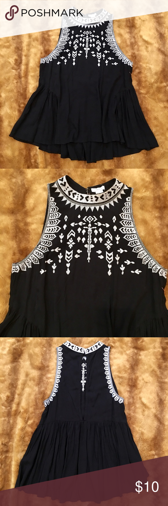 Black Embroidered Boho Blouse NWT! Never been worn! How cute is this top?! I love the cut and the embroidery 💞 Back neck closure with two eye hooks. Narrow peek a boo back. 100% Rayon. Size Small. I go between a Small and a Medium and I can wear it. Will be adorable with white denim pants😍 Wear a bandeau top underneath 😜 Cover up with a denim jacket and you're good to go 💋 Forever 21 Tops Blouses