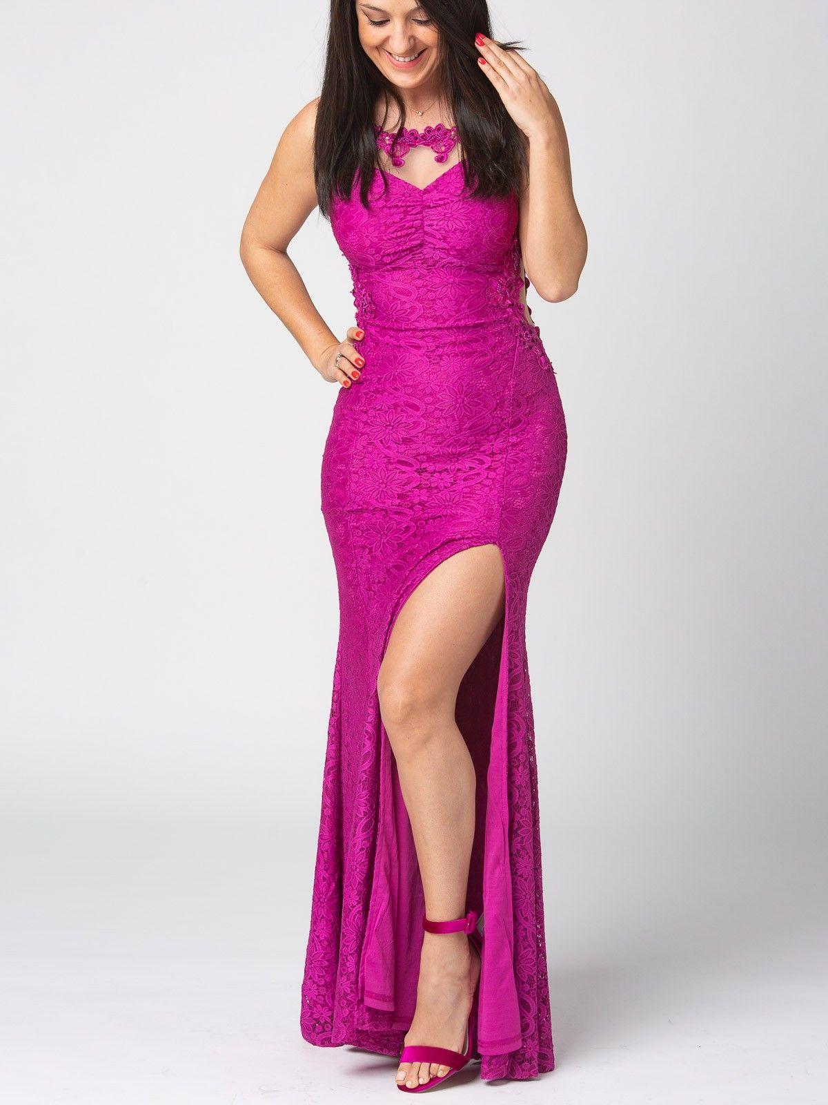 Vestido Samara - Vestido largo de encaje en color buganvilla. Escote ...