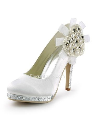 5dcf34d60 White Round Toe Platform Pearls Stiletto Heel Rhinestone Satin Wedding  Party Shoes