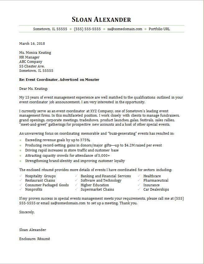 Event Coordinator Cover Letter Best Event Coordinator Cover Letter Sle  News To Go 3  Pinterest