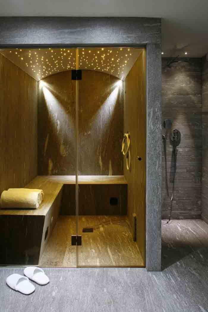 wandfliesen badgestaltung naturstein sauna Badezimmer Ideen - sauna im badezimmer