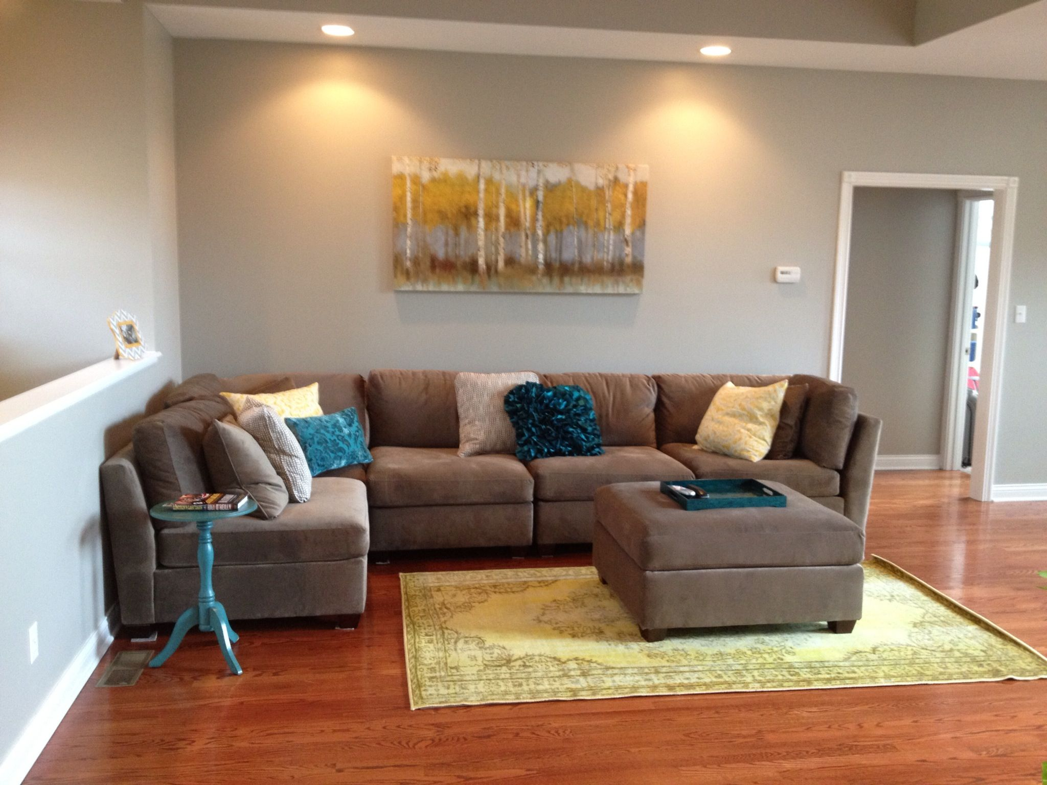 My new living room gray sectional with teal and yellow for Living room yellow accents