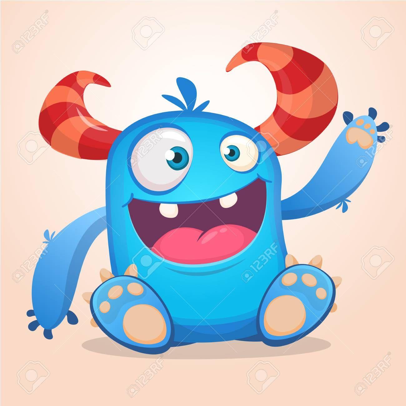 Happy Cute Cartoon Monster Halloween Vector Blue And Horned Cartoon Monsters Cute Monsters Drawings Halloween Vector