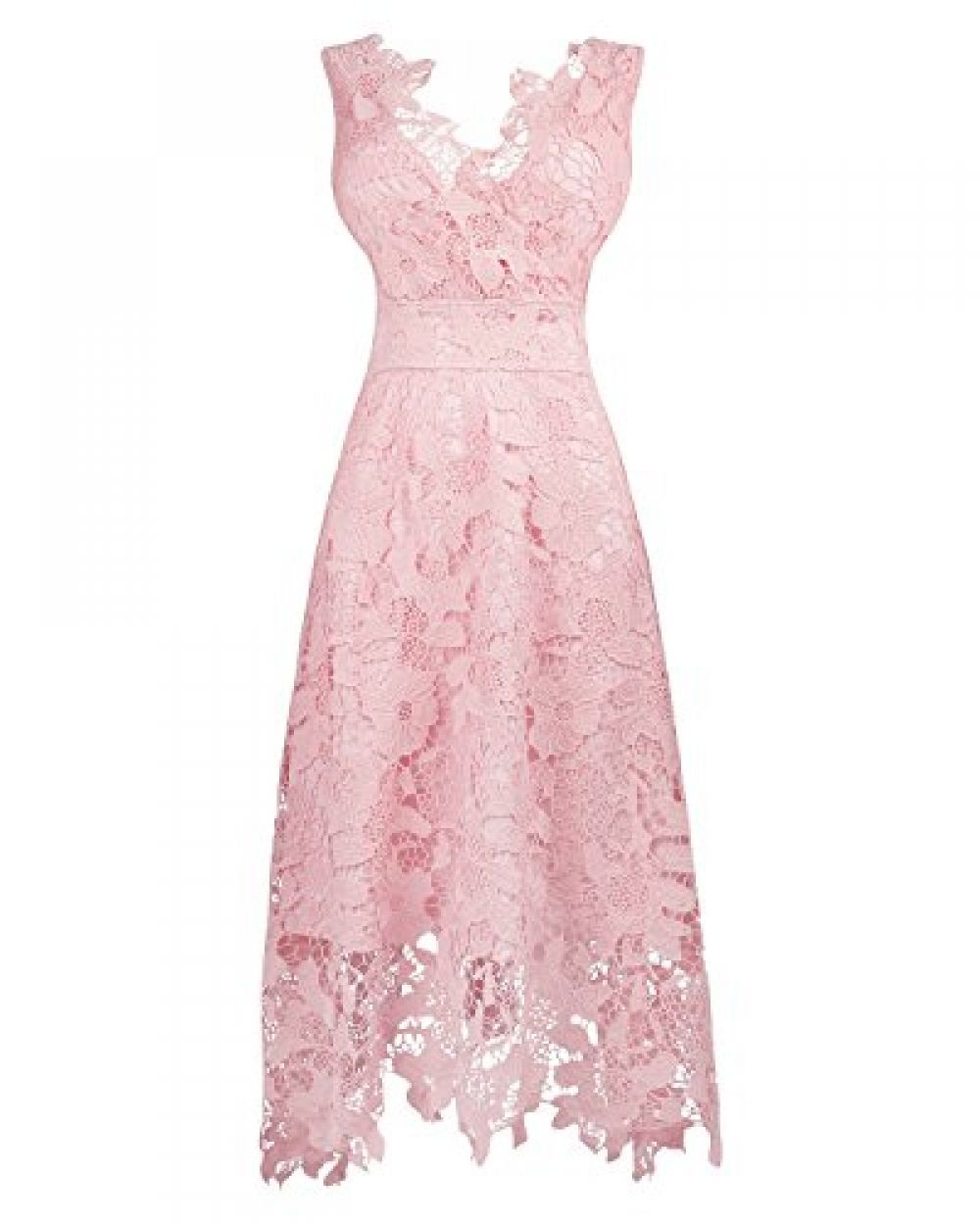 c83250586c1ab KIMILILY Women's Pink V Neck Elegant Floral Lace Prom Cocktail Dress ...