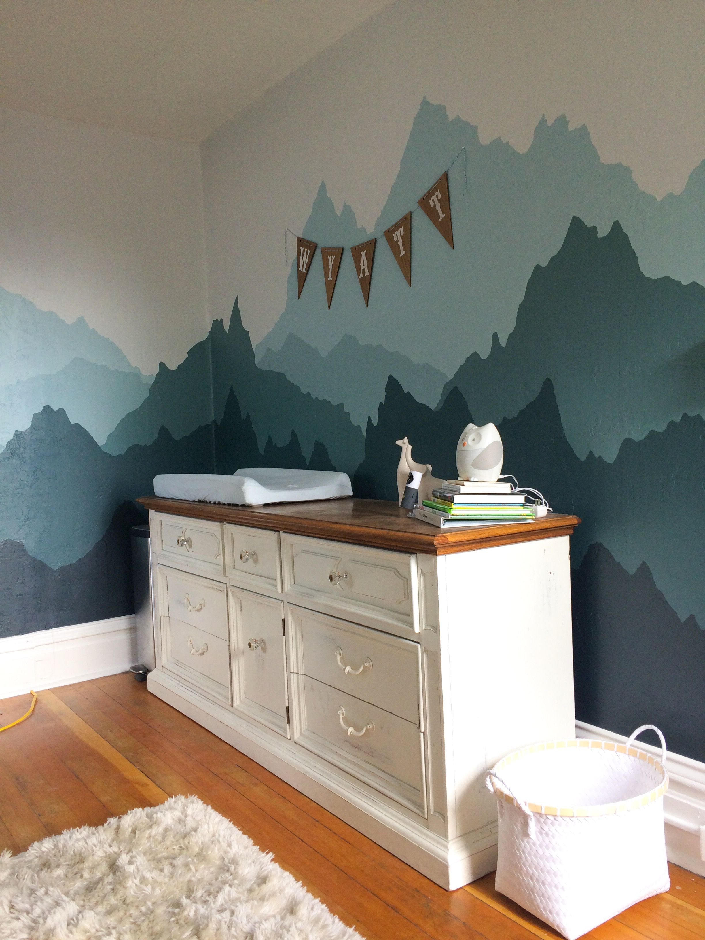 Outdoor Themed Nursery Boys Wilderness Mountains Adventure Turquoise Ombré Mountain Mural