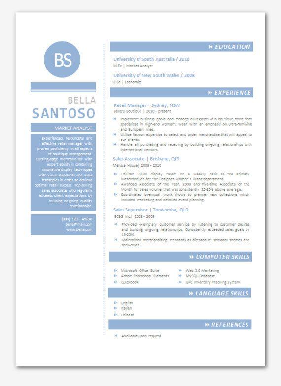 modern microsoft word resume template bella santoso by