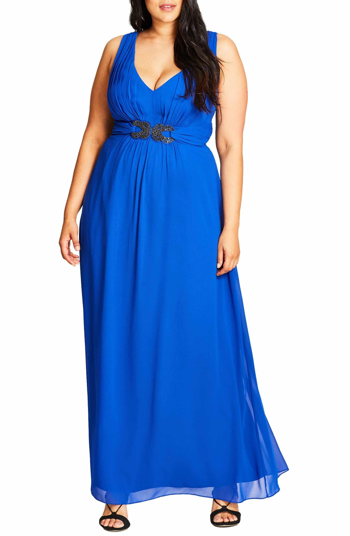 City chic elegant sparkle embellished maxi dress plus