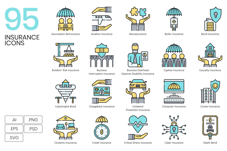 1400 Icons Aqua Vector Bundle Insurance Bond Insurance