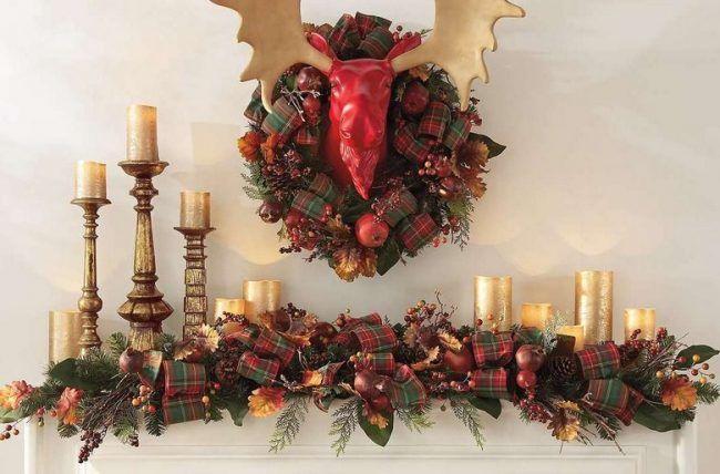 Weihnachtsdeko Amerikanisch amerikanische weihnachtsdeko rot gruen kaminsims festlich dekorieren