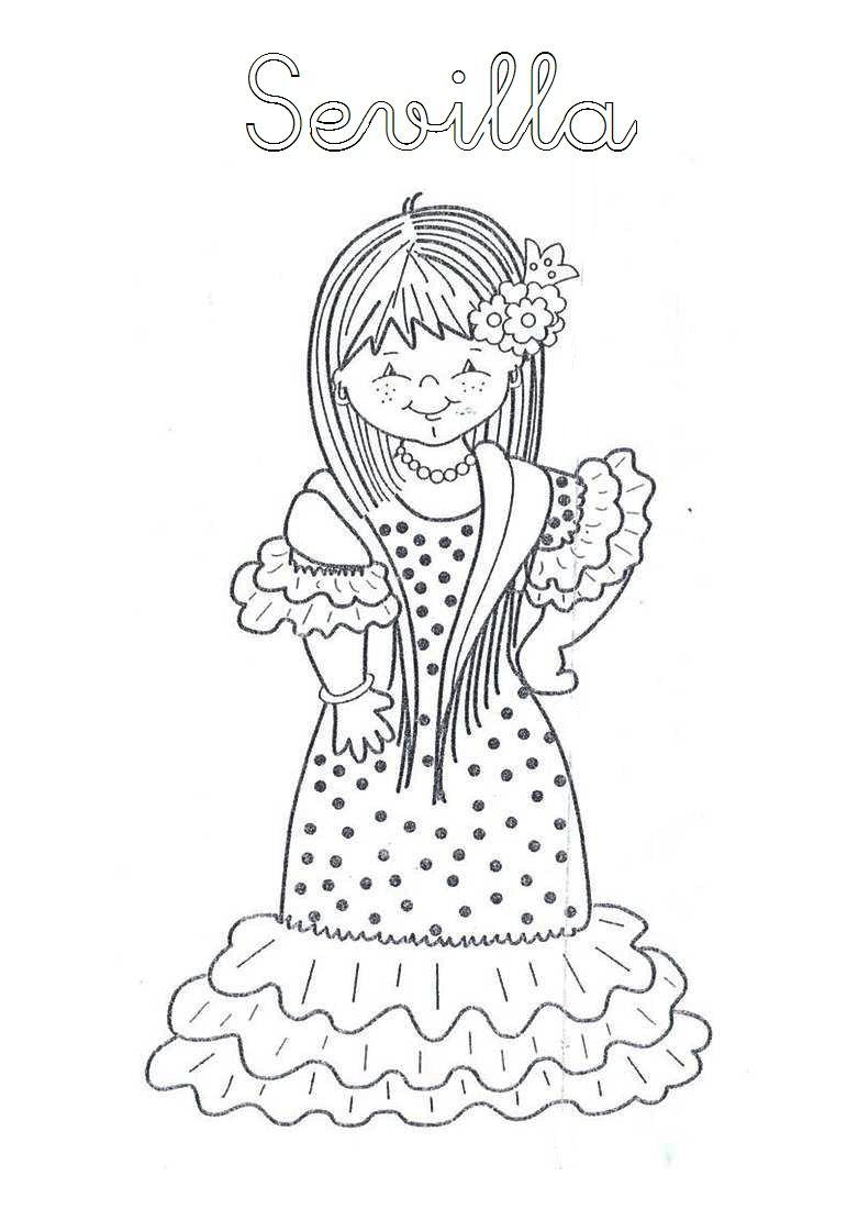 Mi Mundo Infantil Trajes Tipicos Andaluces Dia De Andalucia Mundo Para Colorear Flamenco Dibujo