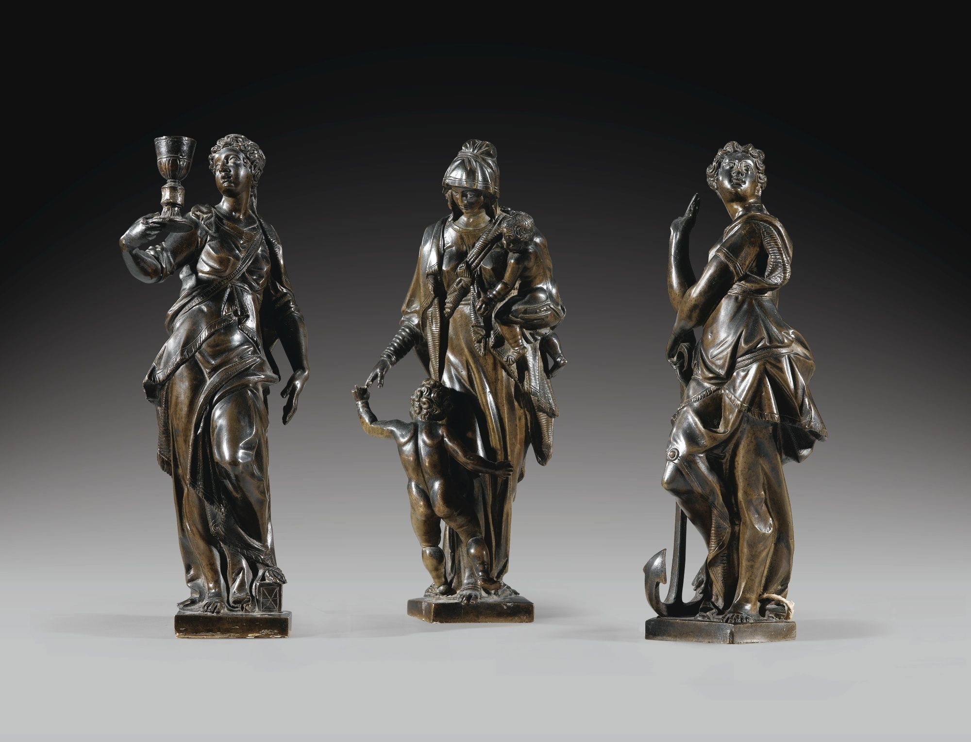 THREE VENETIAN ALLEGORICAL BRONZE FIGURES OF HOPE, CHARITY AND PRUDENCE, ATTRIBUTED TO TIZIANO ASPETTI (1557-1606); ON LATER MARBLE BASES_1.jpg (2000×1528)