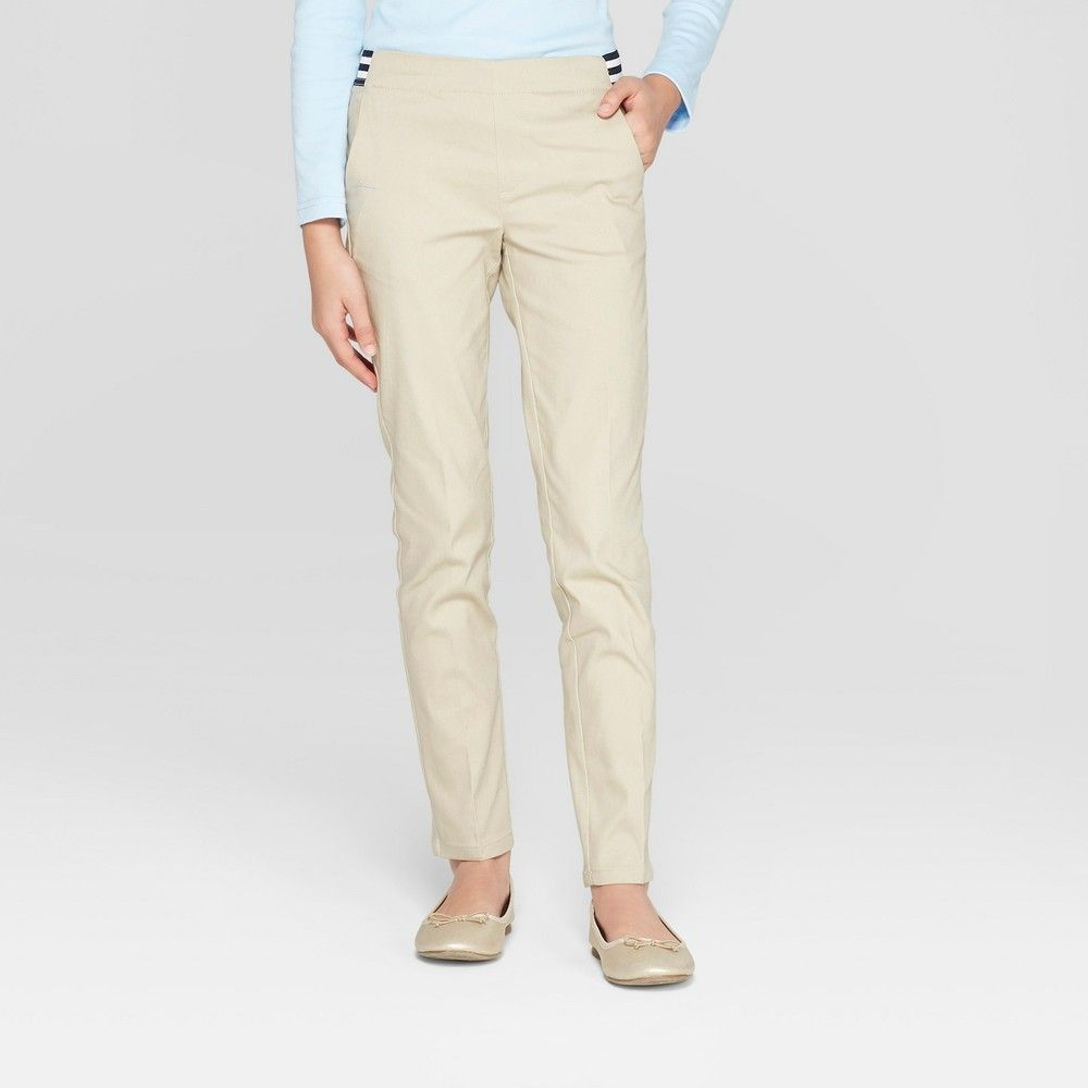 0f731fd77 She'll be ready to take on her day in comfort and style with these Woven Contrast  Waistband Pull-On Uniform Chino Pants from French Toast.
