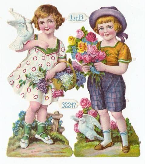 Victorian Die Cut Paper Doll Children Dove Bouquet Garden Birds Scrap