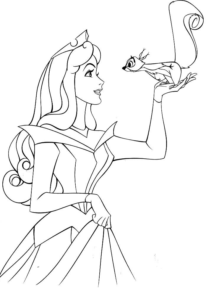 Princess Aurora With A Squirrel Coloring Pages Baby