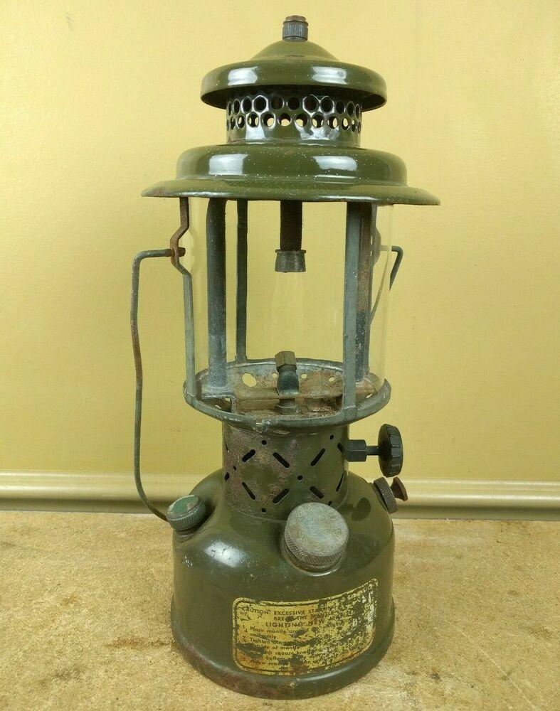 Vintage Coleman Us Military 1952 Single Mantle Gasoline Leaded Fuel Lantern Coleman Gas Lanterns Lanterns Mantle