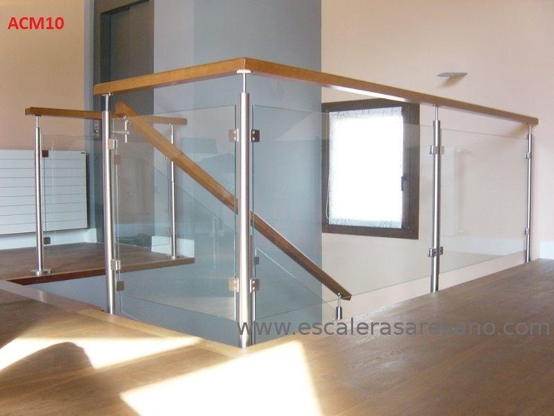 Barandilla de madera, acero inoxidable y cristal Escaleras Pinterest