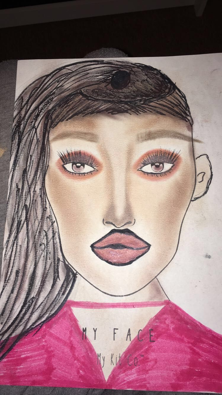 Face chart 1- I was inspired to use different colours as my character likes bright colours this has made me want to use a pink or orange element within my make up look this was a hair up with a bun but it did look right with one bun so for my next hair look i will add another bun