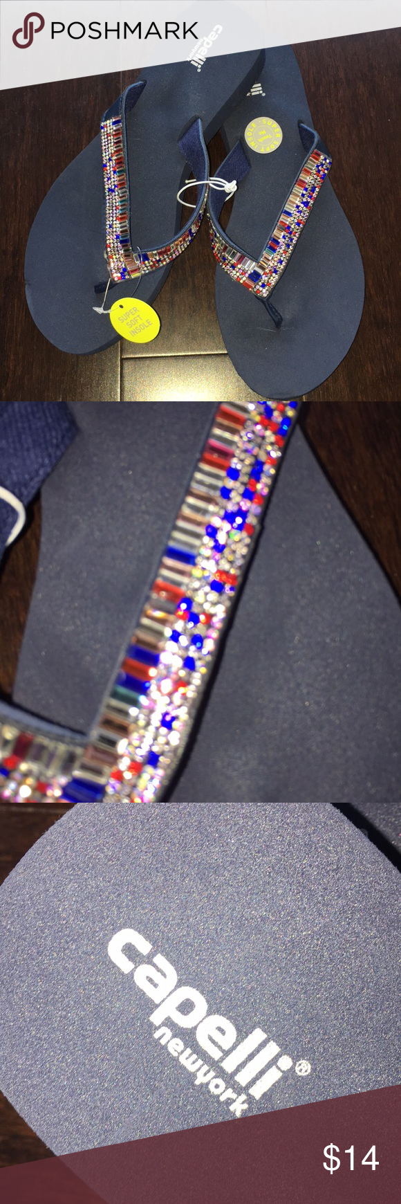 Capelli Ny Navy Rubber Sandal Navy Blue With Rhinestone -8234