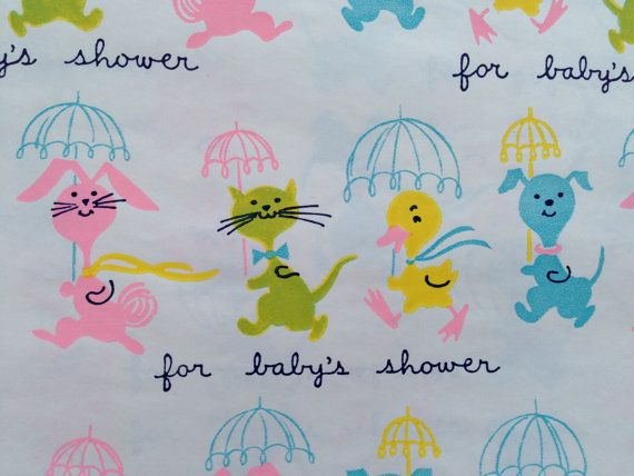 Vintage Gift Wrapping Paper by Dennison - Baby Shower - Animal Parade - Duck, Bunny, Dog, Cat - 1 Unused Full Sheet