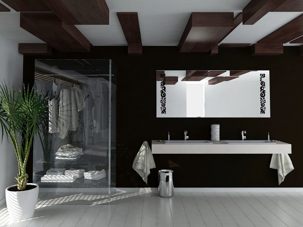 Schwarz weisses badezimmer wohnen einrichten for Raumgestaltung badezimmer