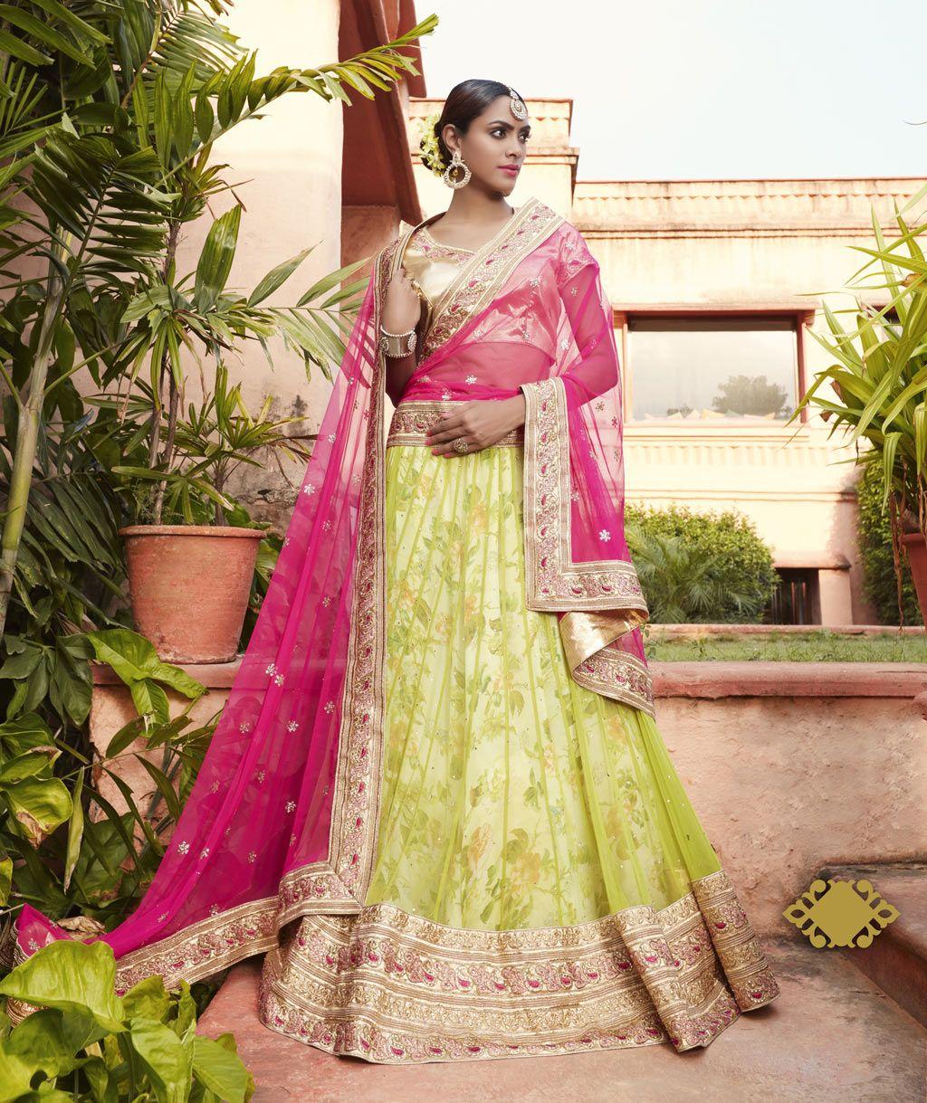 Green Net Wedding Lehenga Choli 70532