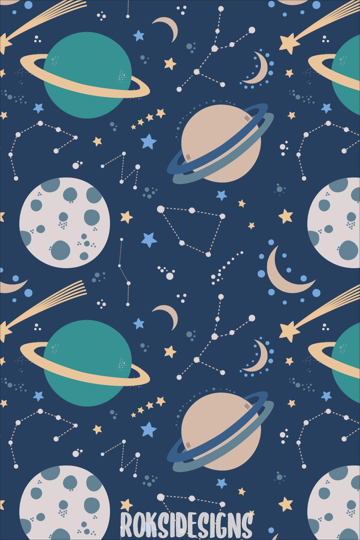 Space Pattern Planets Stars Constellations Moon Galaxy Art Illustration Art Design Space Illustration