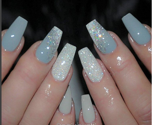 2 Shades of Grey and White Diamond | Nails | Pinterest | White ...