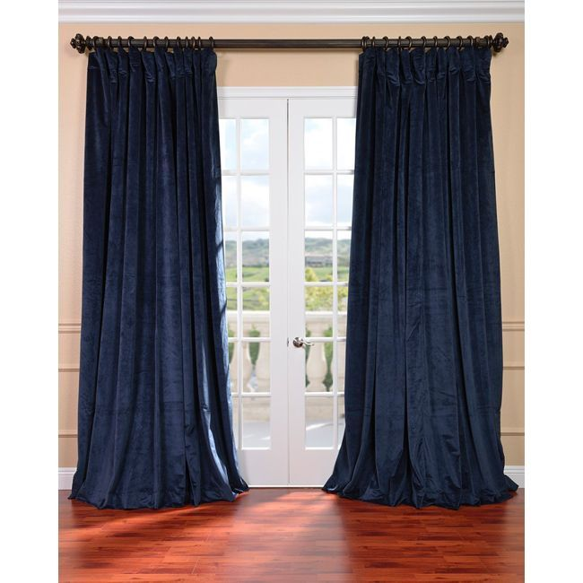 Exclusive Fabrics Midnight Blue Velvet Blackout Extra Wide Curtain Panel 108 Inch Size 100 X Cotton Solid