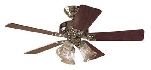 Big deals hunter 20434 the beacon hill three light 42 inch five big deals hunter 20434 the beacon hill three light 42 inch five blade ceiling fan bright brass with clear globes mozeypictures Gallery