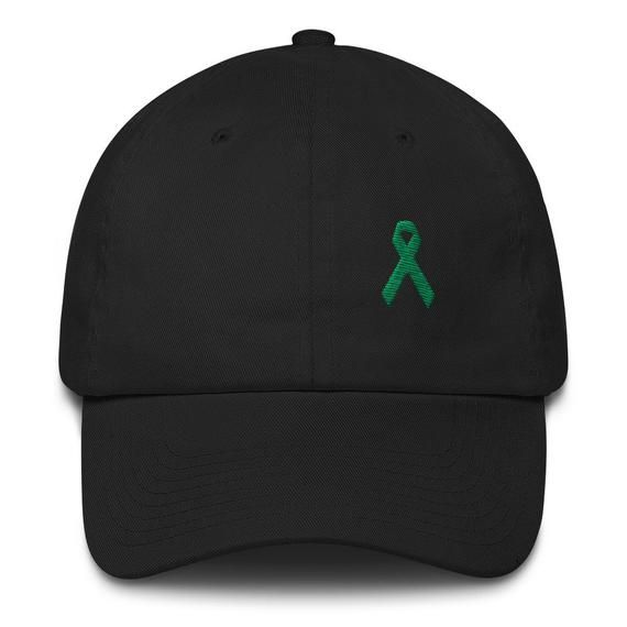 Green Awareness Ribbon Adjustable Cotton Baseball Cap | Survivor Gift | Dad Hat | Liver Cancer Aware