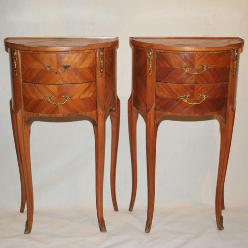 Unusual pair of demi lune French side tables (a10746)