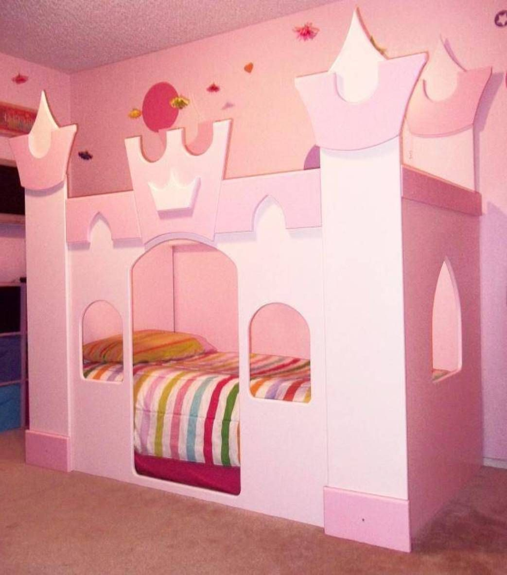 The Princess Castle Bed Pink Color With Striped Bedding The