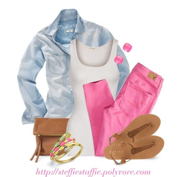 Chambray, Pink Skinnies & Colorful Bangles